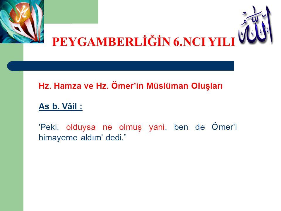 """Hz. Hamza ve Hz. Ömer'in Müslüman Oluşları As b. Vâil : 'Peki, olduysa ne olmuş yani, ben de Ömer'i himayeme aldım' dedi."""" PEYGAMBERLİĞİN 6.NCI YILI"""
