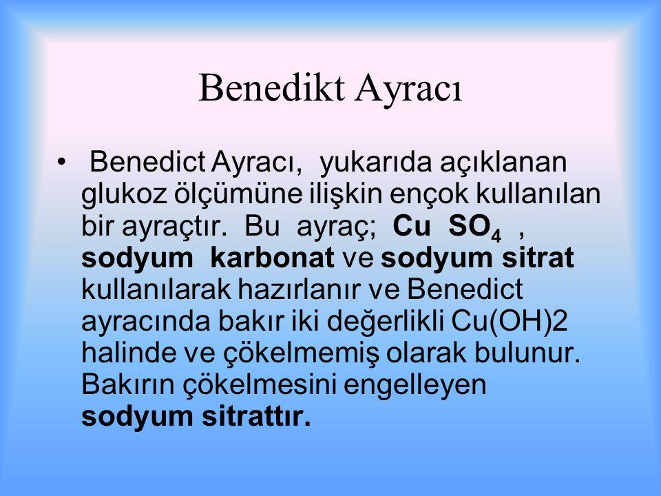 Benedikt Ayracı Benedict Ayracı, yukarıda açıklanan glukoz ölçümüne ilişkin ençok kullanılan bir ayraçtır.