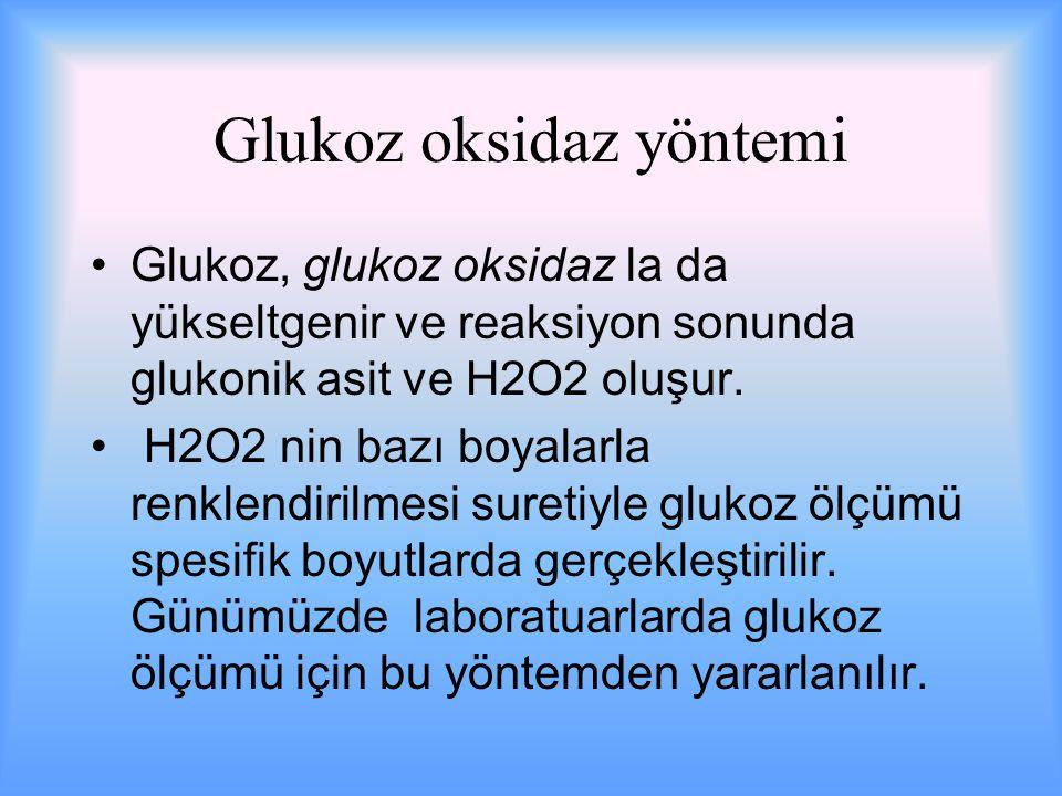 Glukoz oksidaz yöntemi Glukoz, glukoz oksidaz la da yükseltgenir ve reaksiyon sonunda glukonik asit ve H2O2 oluşur.