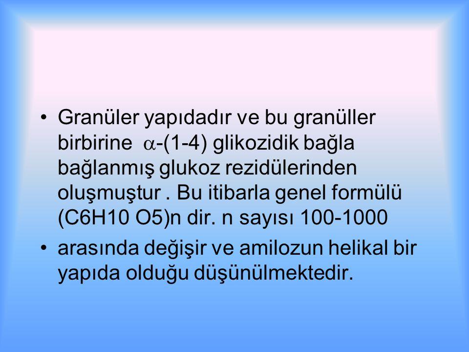 Granüler yapıdadır ve bu granüller birbirine  -(1-4) glikozidik bağla bağlanmış glukoz rezidülerinden oluşmuştur.
