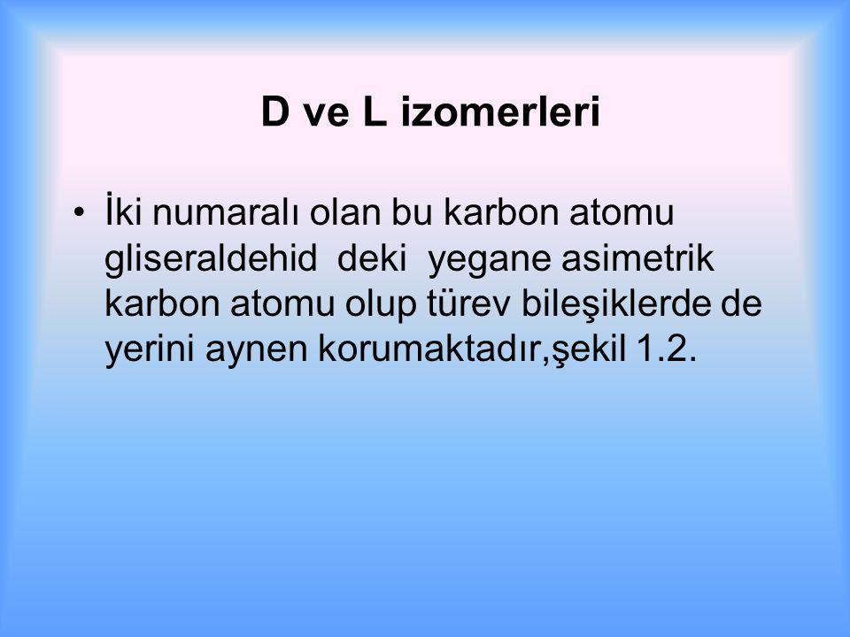 D ve L izomerleri İki numaralı olan bu karbon atomu gliseraldehid deki yegane asimetrik karbon atomu olup türev bileşiklerde de yerini aynen korumaktadır,şekil 1.2.