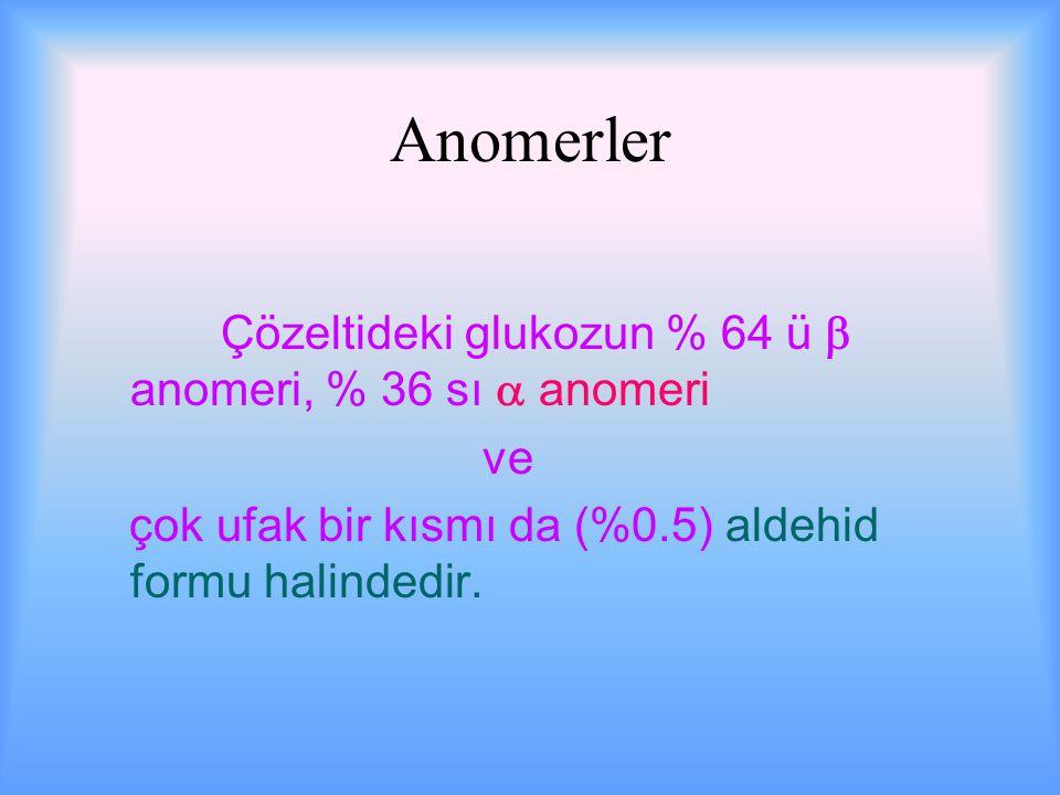 Anomerler Çözeltideki glukozun % 64 ü  anomeri, % 36 sı  anomeri ve çok ufak bir kısmı da (%0.5) aldehid formu halindedir.