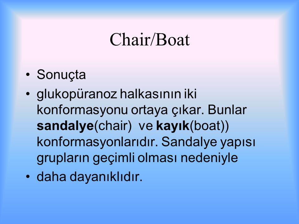 Chair/Boat Sonuçta glukopüranoz halkasının iki konformasyonu ortaya çıkar.