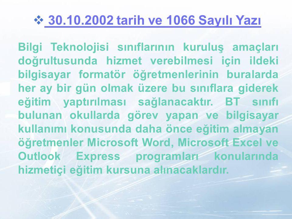 LOGO  30.10.2002 tarih ve 1066 Sayılı Yazı 30.10.2002 tarih ve 1066 Sayılı Yazı Bilgi Teknolojisi sınıflarının kuruluş amaçları doğrultusunda hizmet