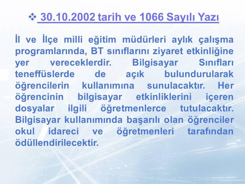 LOGO  30.10.2002 tarih ve 1066 Sayılı Yazı 30.10.2002 tarih ve 1066 Sayılı Yazı İl ve İlçe milli eğitim müdürleri aylık çalışma programlarında, BT sı