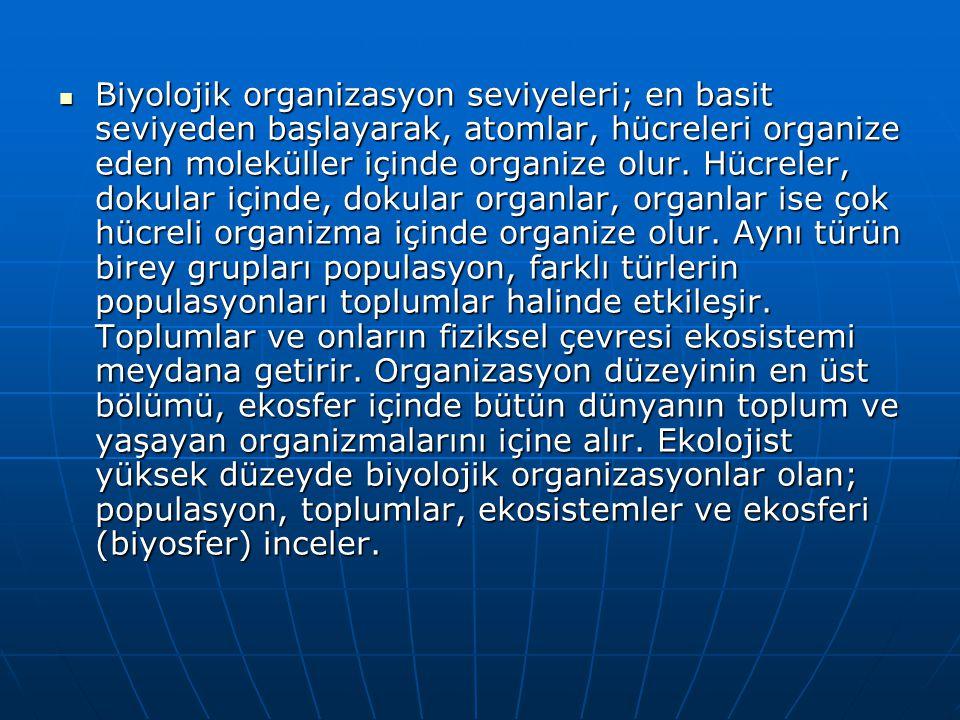 Biyolojik organizasyon seviyeleri; en basit seviyeden başlayarak, atomlar, hücreleri organize eden moleküller içinde organize olur. Hücreler, dokular