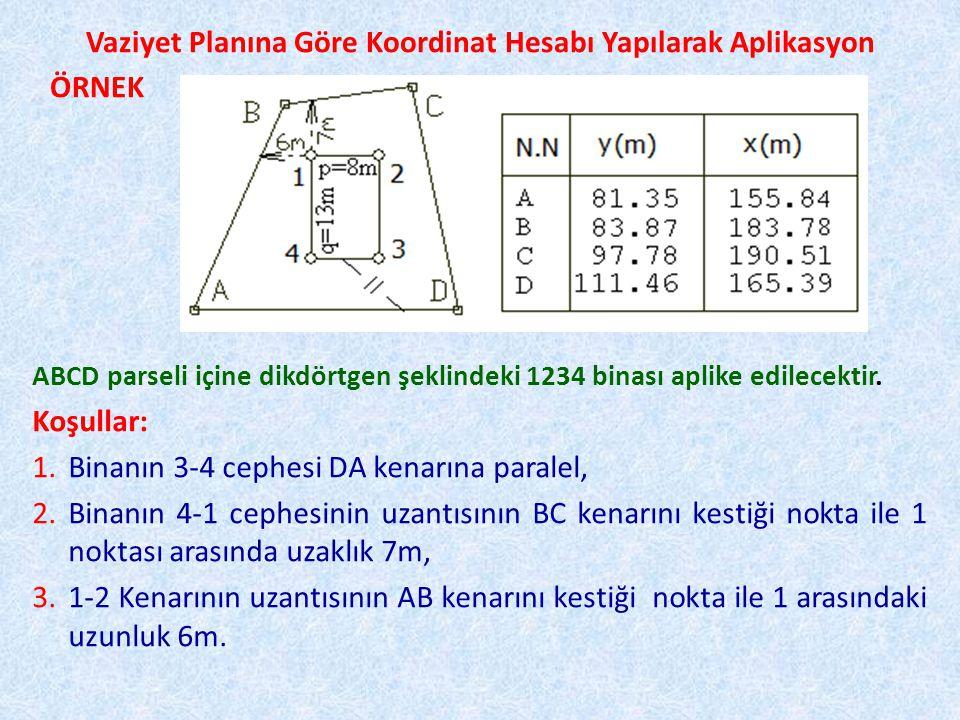 Vaziyet Planına Göre Koordinat Hesabı Yapılarak Aplikasyon (CC')= (AD)+100±200=180,4472 g (CC')=(CE)=(BF)