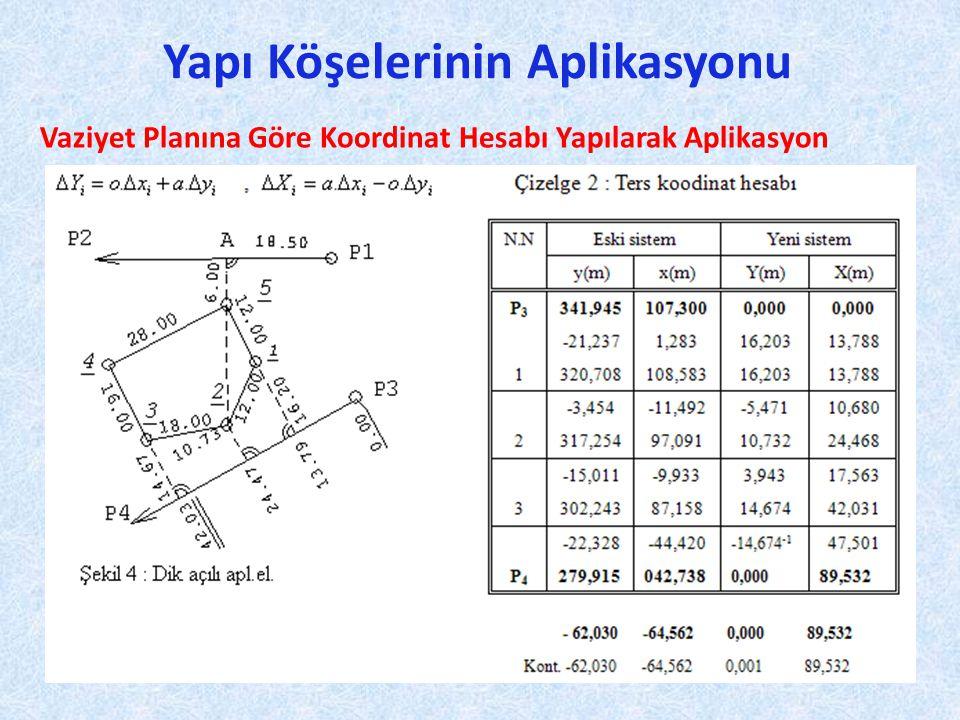 Yapı Köşelerinin Aplikasyonu Vaziyet Planına Göre Koordinat Hesabı Yapılarak Aplikasyon