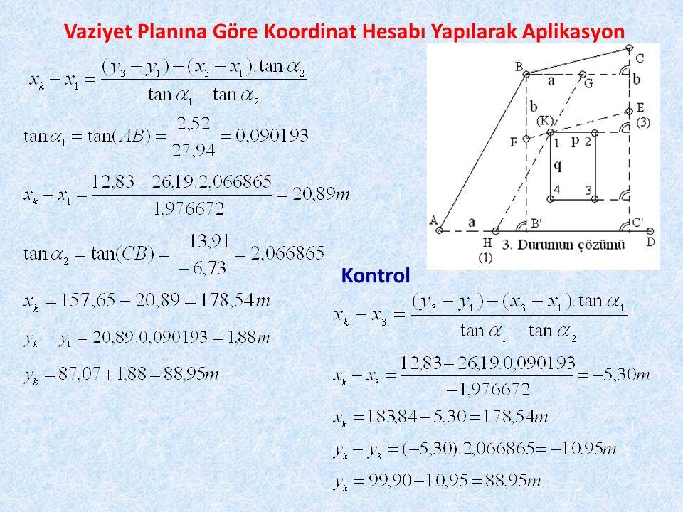 Vaziyet Planına Göre Koordinat Hesabı Yapılarak Aplikasyon 1 noktası başlangıç olmak üzere kapalı poligon geçkisi şeklinde 2,3 ve 4 noktalarının da koordinatları hesaplanır.