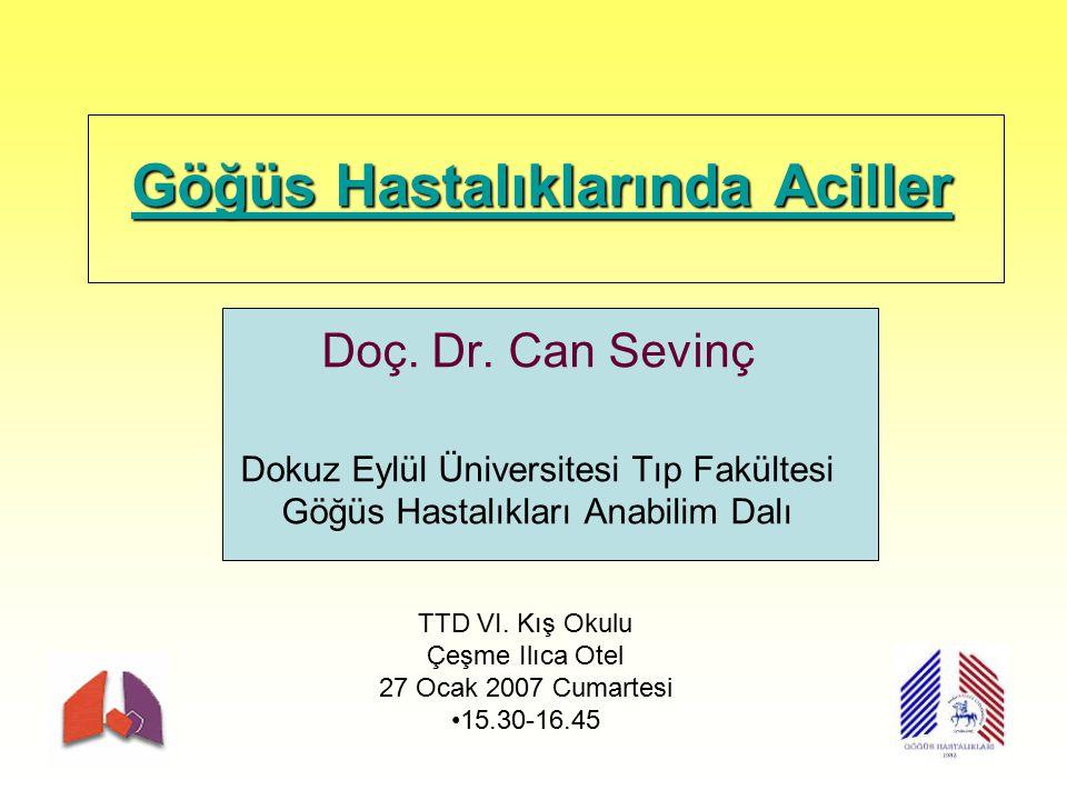Göğüs Hastalıklarında Aciller Göğüs Hastalıklarında Aciller Doç. Dr. Can Sevinç Dokuz Eylül Üniversitesi Tıp Fakültesi Göğüs Hastalıkları Anabilim Dal