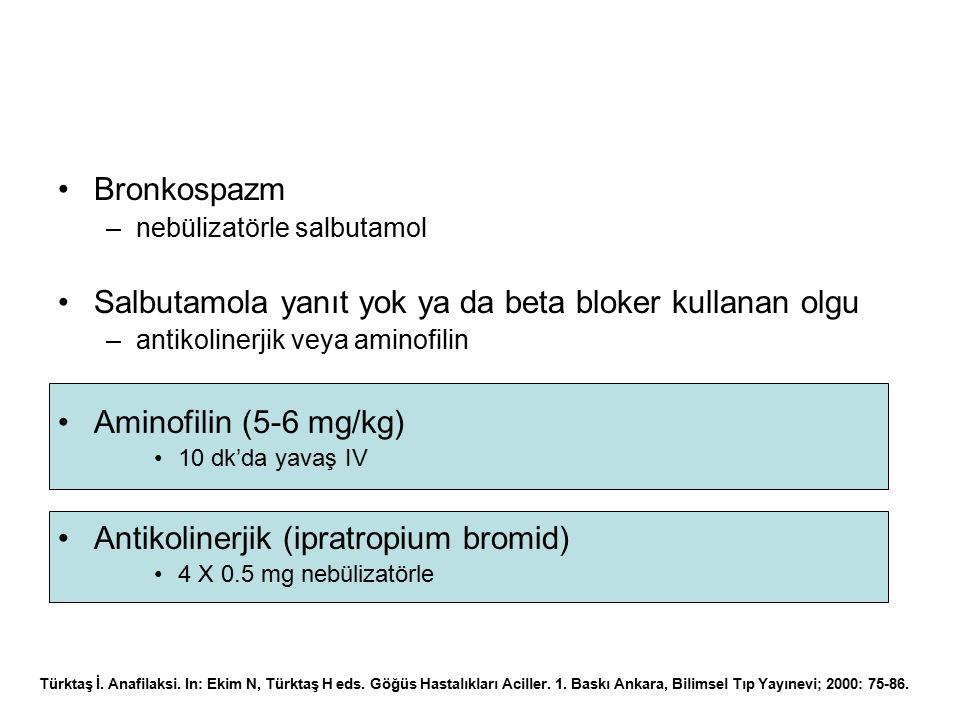 Bronkospazm –nebülizatörle salbutamol Salbutamola yanıt yok ya da beta bloker kullanan olgu –antikolinerjik veya aminofilin Aminofilin (5-6 mg/kg) 10