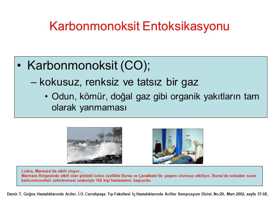 Karbonmonoksit Entoksikasyonu Karbonmonoksit (CO); –kokusuz, renksiz ve tatsız bir gaz Odun, kömür, doğal gaz gibi organik yakıtların tam olarak yanma
