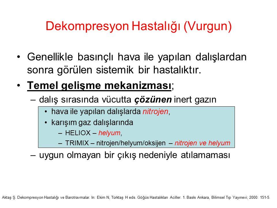 Dekompresyon Hastalığı (Vurgun) Genellikle basınçlı hava ile yapılan dalışlardan sonra görülen sistemik bir hastalıktır. Temel gelişme mekanizması; –d