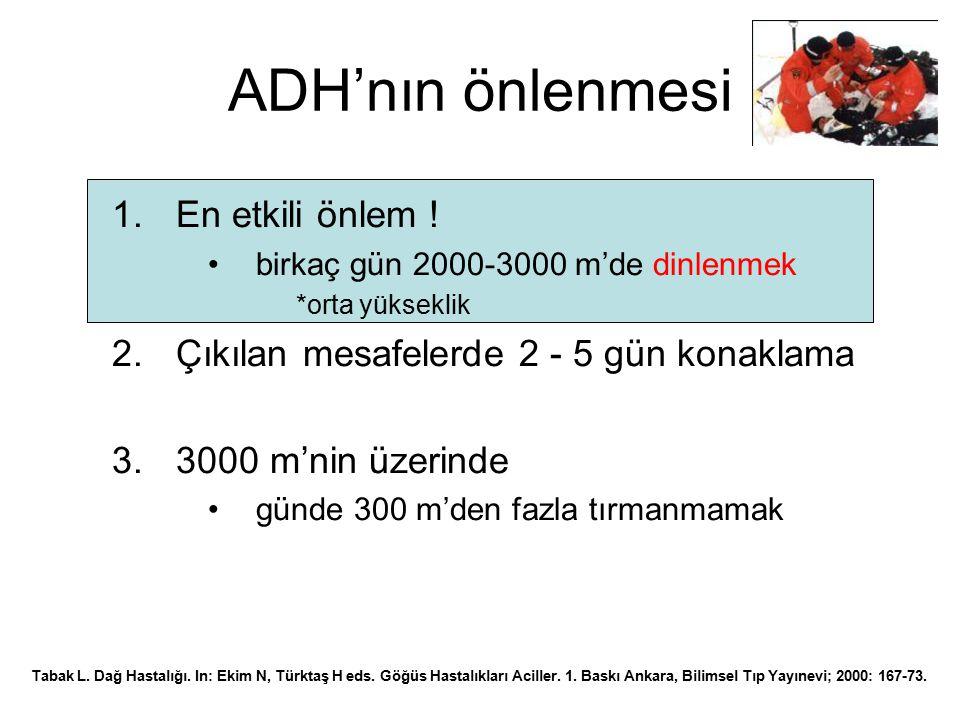 ADH'nın önlenmesi 1.En etkili önlem ! birkaç gün 2000-3000 m'de dinlenmek *orta yükseklik 2.Çıkılan mesafelerde 2 - 5 gün konaklama 3.3000 m'nin üzeri