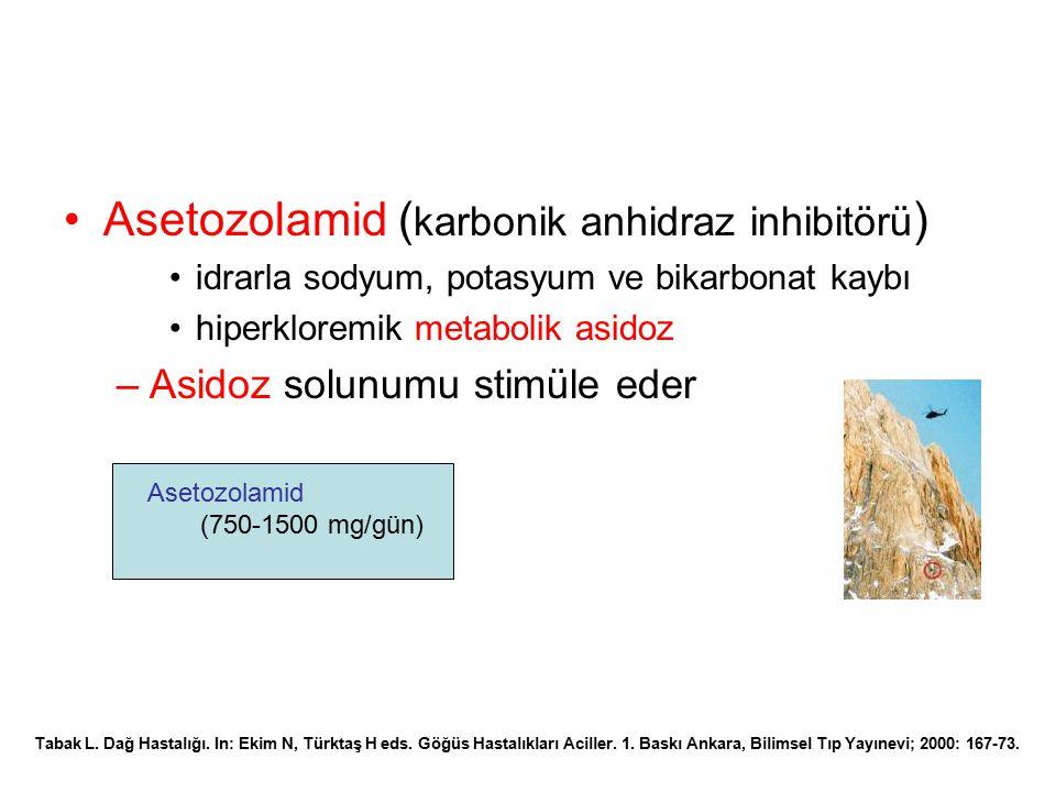 Asetozolamid ( karbonik anhidraz inhibitörü ) idrarla sodyum, potasyum ve bikarbonat kaybı hiperkloremik metabolik asidoz –Asidoz solunumu stimüle ede
