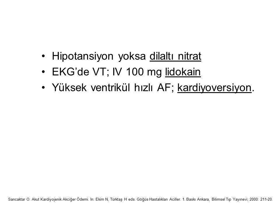 Hipotansiyon yoksa dilaltı nitrat EKG'de VT; IV 100 mg lidokain Yüksek ventrikül hızlı AF; kardiyoversiyon. Sancaktar O. Akut Kardiyojenik Akciğer Öde