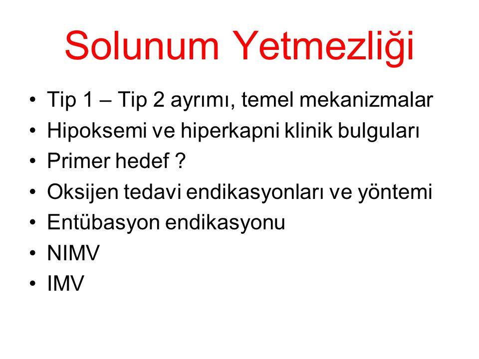 Solunum Yetmezliği Tip 1 – Tip 2 ayrımı, temel mekanizmalar Hipoksemi ve hiperkapni klinik bulguları Primer hedef ? Oksijen tedavi endikasyonları ve y
