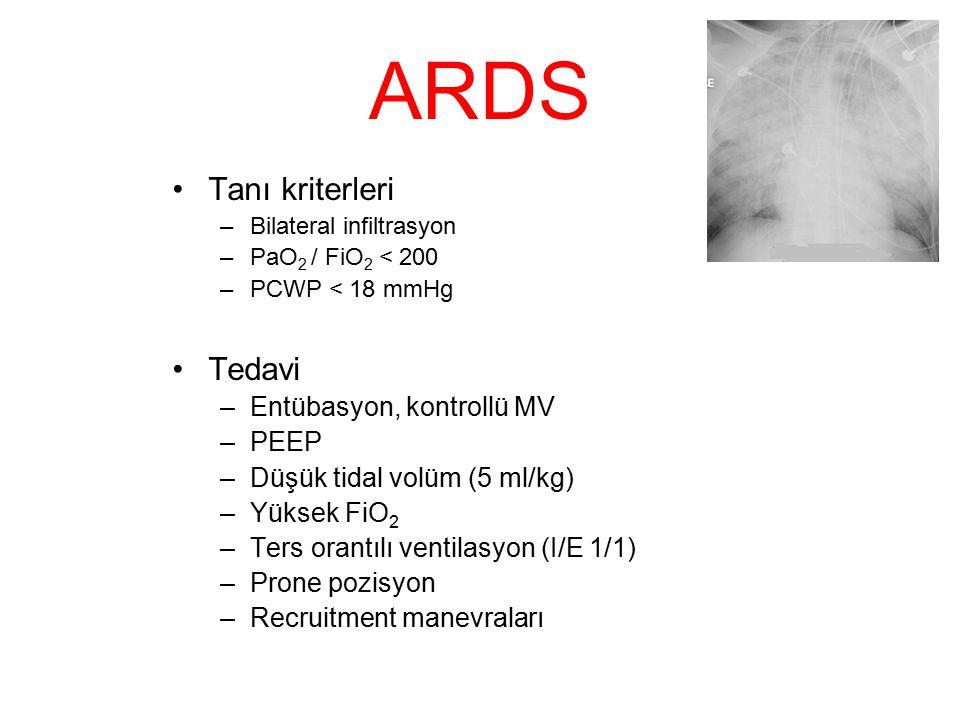 ARDS Tanı kriterleri –Bilateral infiltrasyon –PaO 2 / FiO 2 < 200 –PCWP < 18 mmHg Tedavi –Entübasyon, kontrollü MV –PEEP –Düşük tidal volüm (5 ml/kg)