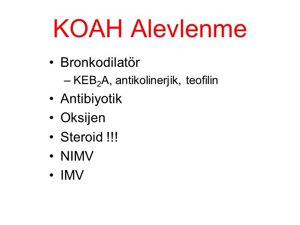 KOAH Alevlenme Bronkodilatör –KEB 2 A, antikolinerjik, teofilin Antibiyotik Oksijen Steroid !!! NIMV IMV
