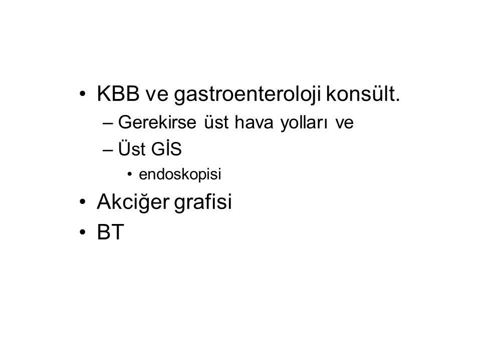 KBB ve gastroenteroloji konsült. –Gerekirse üst hava yolları ve –Üst GİS endoskopisi Akciğer grafisi BT
