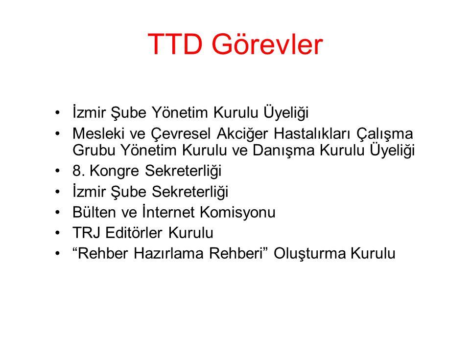 TTD Görevler İzmir Şube Yönetim Kurulu Üyeliği Mesleki ve Çevresel Akciğer Hastalıkları Çalışma Grubu Yönetim Kurulu ve Danışma Kurulu Üyeliği 8. Kong