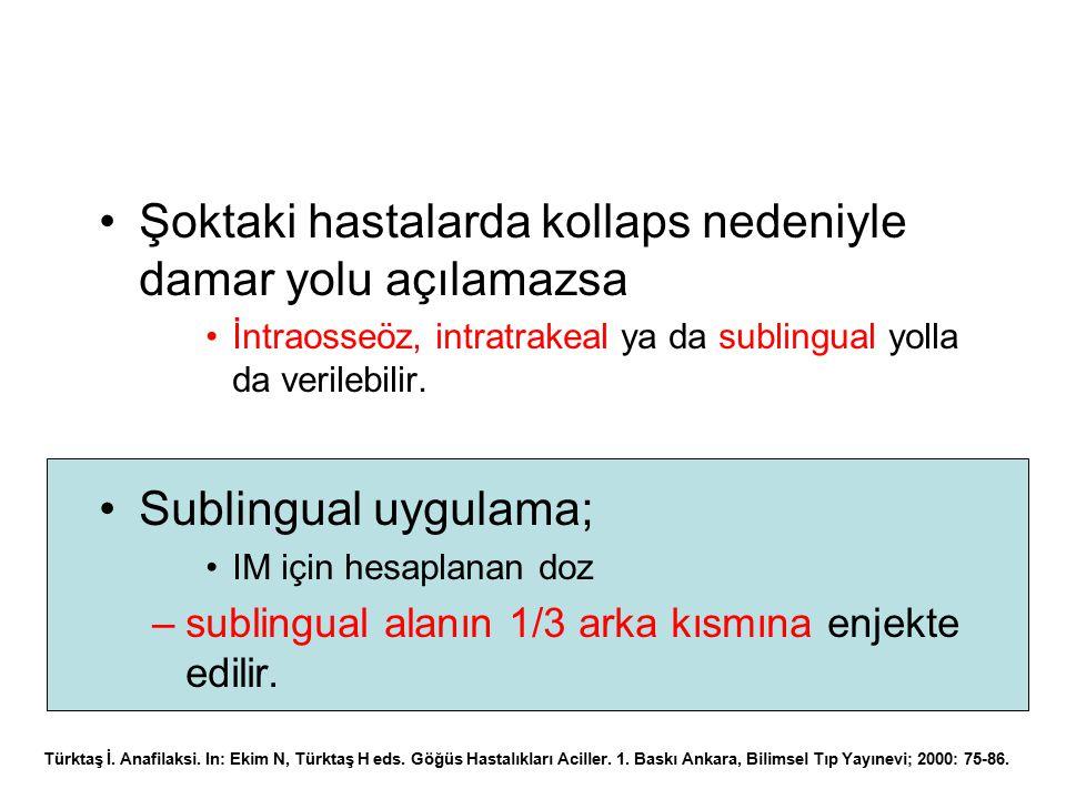 Şoktaki hastalarda kollaps nedeniyle damar yolu açılamazsa İntraosseöz, intratrakeal ya da sublingual yolla da verilebilir. Sublingual uygulama; IM iç