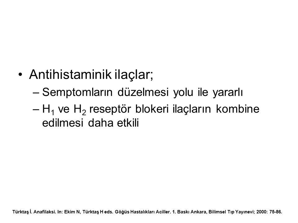 Antihistaminik ilaçlar; –Semptomların düzelmesi yolu ile yararlı –H 1 ve H 2 reseptör blokeri ilaçların kombine edilmesi daha etkili Türktaş İ. Anafil