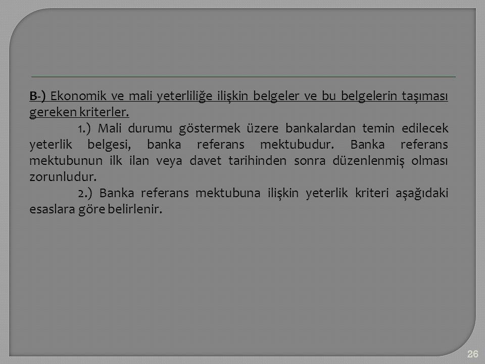 B-) Ekonomik ve mali yeterliliğe ilişkin belgeler ve bu belgelerin taşıması gereken kriterler. 1.) Mali durumu göstermek üzere bankalardan temin edile