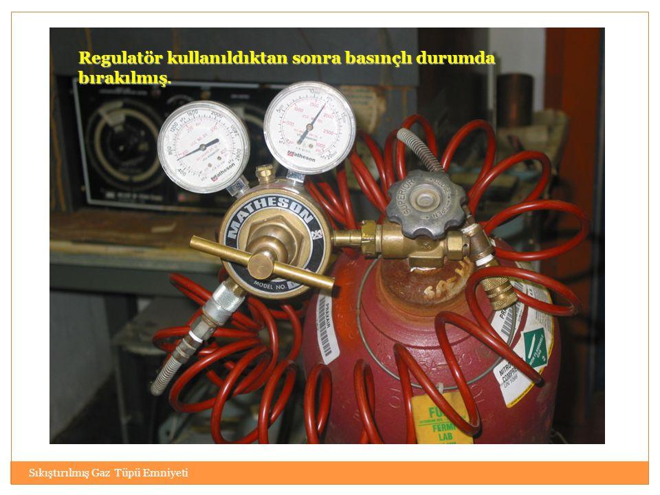 Sıkıştırılmış Gaz Tüpü Emniyeti Regulatör kullanıldıktan sonra basınçlı durumda bırakılmış.