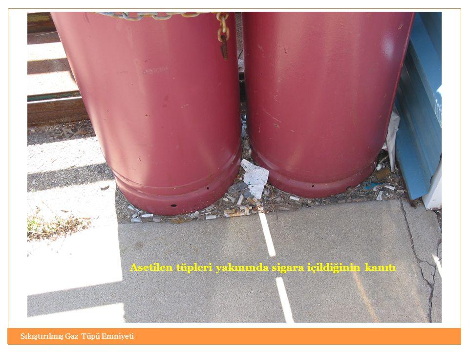 Sıkıştırılmış Gaz Tüpü Emniyeti Asetilen tüpleri yakınında sigara içildiğinin kanıtı