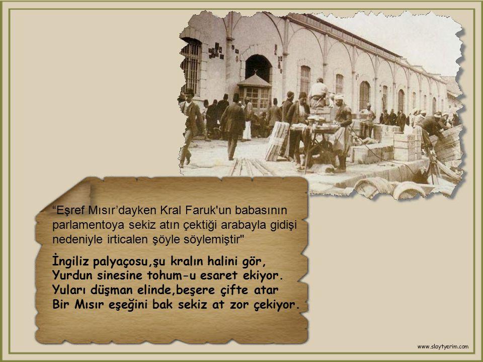 Kâmil eşek şair Eşref, bir gün eşeğe binmişti,yolda giderken arkadan İzmir Valisi Kâmil Paşa'nın arabası ile gelmekte olduğunu görmüş ve yol vermek iç