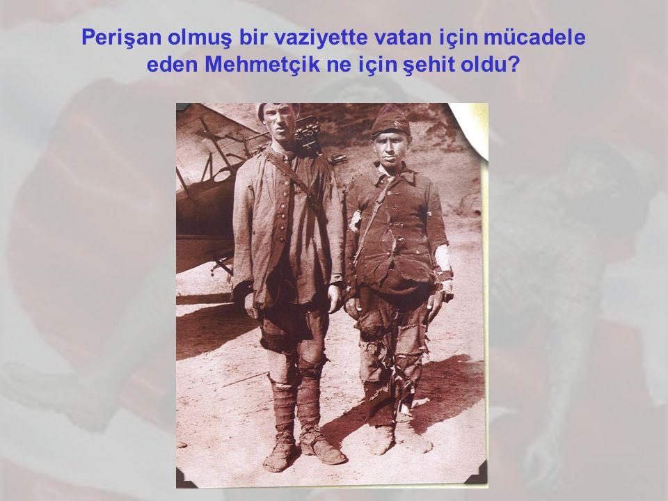 Perişan olmuş bir vaziyette vatan için mücadele eden Mehmetçik ne için şehit oldu?