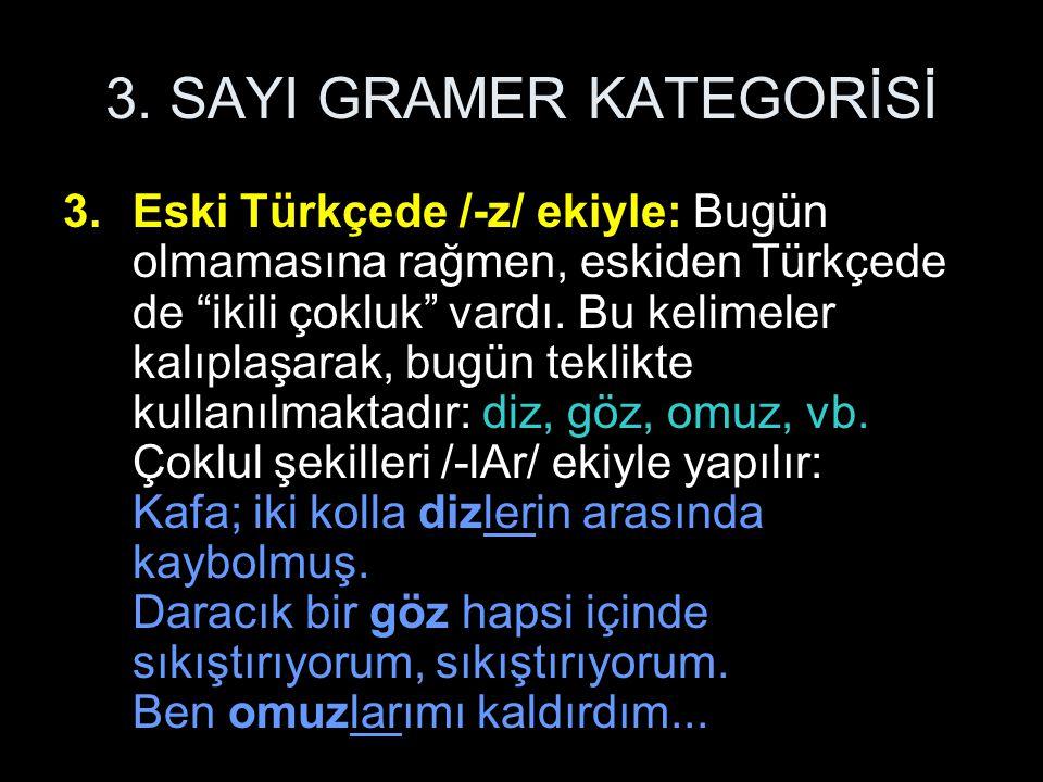 """3. SAYI GRAMER KATEGORİSİ 3.Eski Türkçede /-z/ ekiyle: Bugün olmamasına rağmen, eskiden Türkçede de """"ikili çokluk"""" vardı. Bu kelimeler kalıplaşarak, b"""