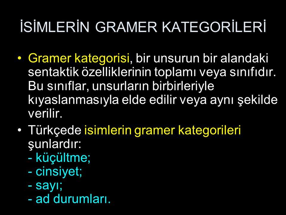 Gramer kategorisi, bir unsurun bir alandaki sentaktik özelliklerinin toplamı veya sınıfıdır. Bu sınıflar, unsurların birbirleriyle kıyaslanmasıyla eld