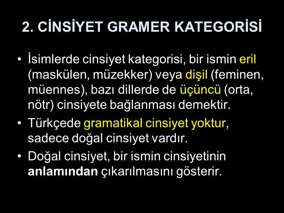 2. CİNSİYET GRAMER KATEGORİSİ İsimlerde cinsiyet kategorisi, bir ismin eril (maskülen, müzekker) veya dişil (feminen, müennes), bazı dillerde de üçünc