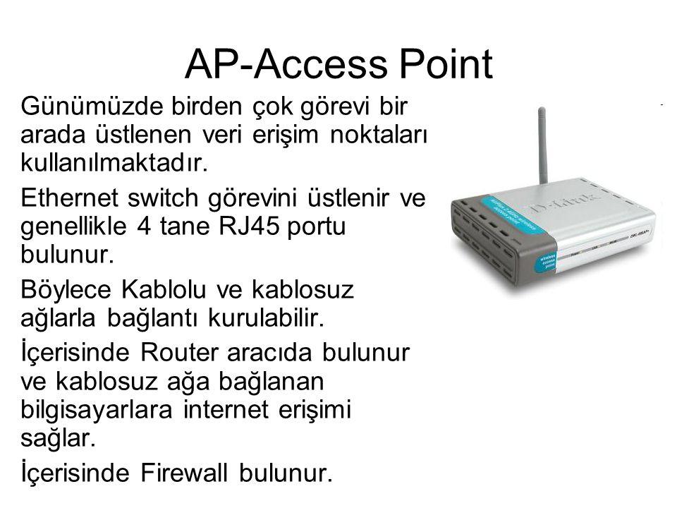 AP-Access Point Günümüzde birden çok görevi bir arada üstlenen veri erişim noktaları kullanılmaktadır. Ethernet switch görevini üstlenir ve genellikle