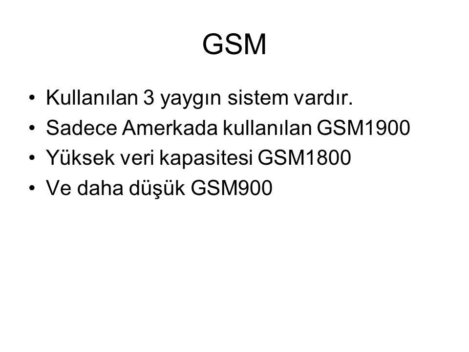 GSM Kullanılan 3 yaygın sistem vardır. Sadece Amerkada kullanılan GSM1900 Yüksek veri kapasitesi GSM1800 Ve daha düşük GSM900