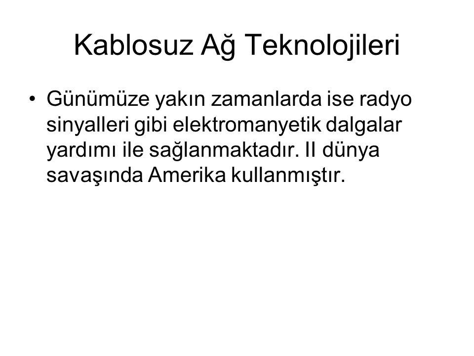 Kablosuz Ağ Teknolojileri Günümüze yakın zamanlarda ise radyo sinyalleri gibi elektromanyetik dalgalar yardımı ile sağlanmaktadır. II dünya savaşında