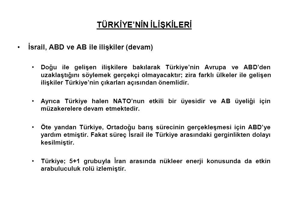 TÜRKİYE'NİN İLİŞKİLERİ İsrail, ABD ve AB ile ilişkiler (devam) Doğu ile gelişen ilişkilere bakılarak Türkiye'nin Avrupa ve ABD'den uzaklaştığını söyle