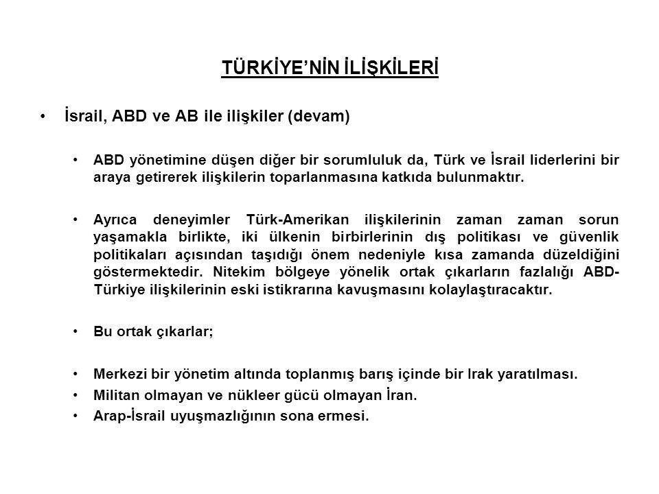 TÜRKİYE'NİN İLİŞKİLERİ İsrail, ABD ve AB ile ilişkiler (devam) ABD yönetimine düşen diğer bir sorumluluk da, Türk ve İsrail liderlerini bir araya geti