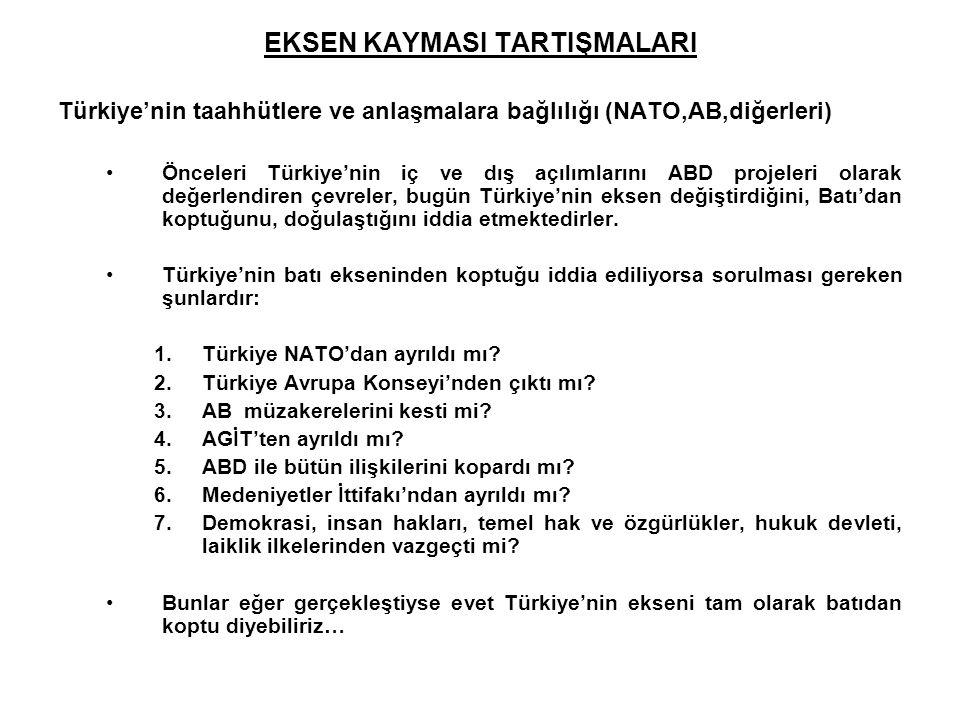EKSEN KAYMASI TARTIŞMALARI Türkiye'nin taahhütlere ve anlaşmalara bağlılığı (NATO,AB,diğerleri) Önceleri Türkiye'nin iç ve dış açılımlarını ABD projel
