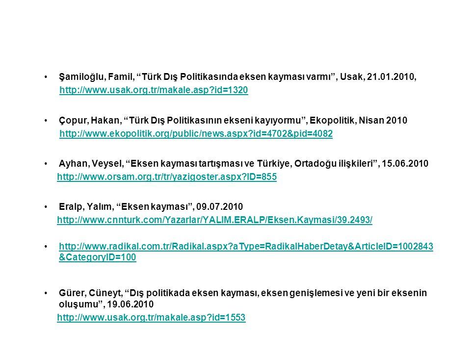 """Şamiloğlu, Famil, """"Türk Dış Politikasında eksen kayması varmı"""", Usak, 21.01.2010, http://www.usak.org.tr/makale.asp?id=1320 Çopur, Hakan, """"Türk Dış Po"""