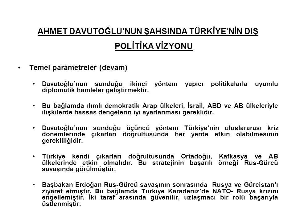 AHMET DAVUTOĞLU'NUN ŞAHSINDA TÜRKİYE'NİN DIŞ POLİTİKA VİZYONU Temel parametreler (devam) Davutoğlu'nun sunduğu ikinci yöntem yapıcı politikalarla uyum