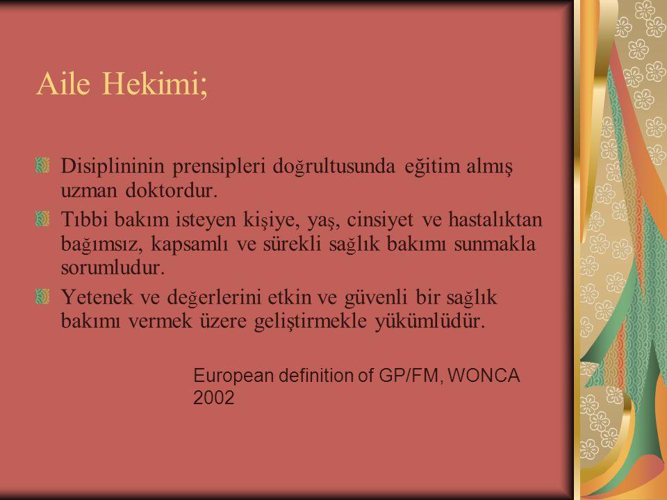 European definition of GP/FM, WONCA 2002 Aile Hekimi ; Disiplininin prensipleri do ğ rultusunda eğitim almış uzman doktordur. Tıbbi bakım isteyen ki ş