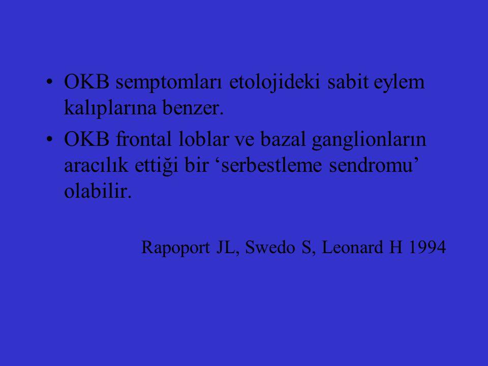 OKB semptomları etolojideki sabit eylem kalıplarına benzer. OKB frontal loblar ve bazal ganglionların aracılık ettiği bir 'serbestleme sendromu' olabi