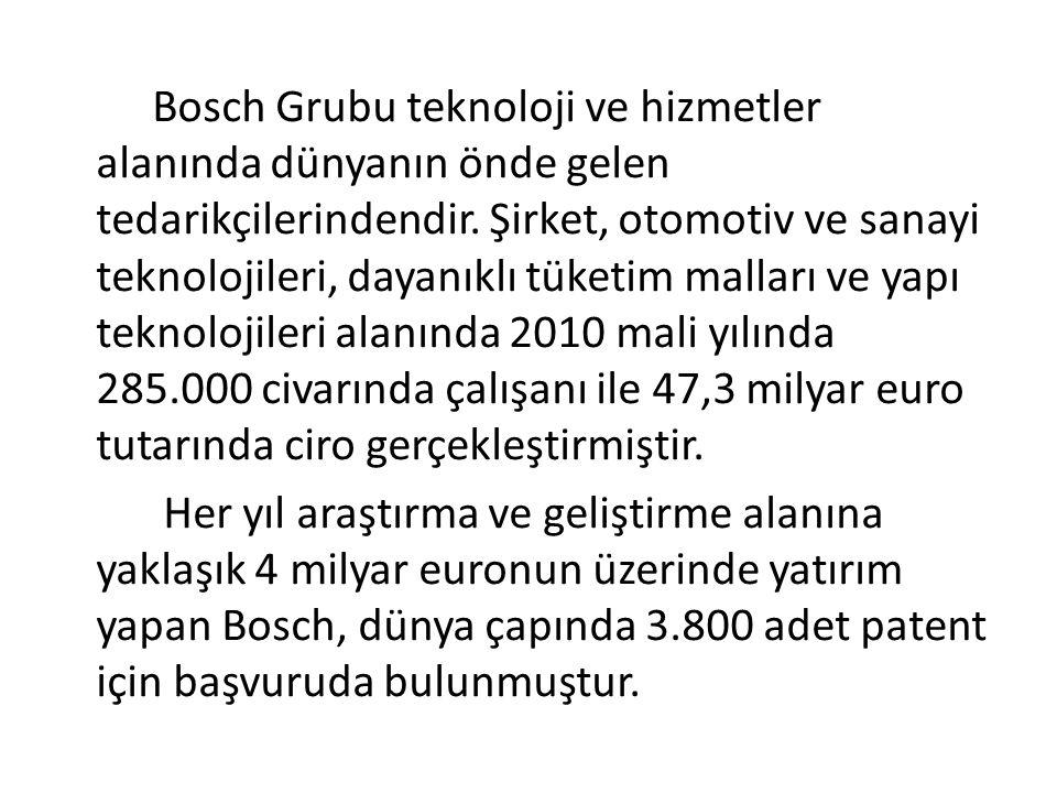Bosch Grubu teknoloji ve hizmetler alanında dünyanın önde gelen tedarikçilerindendir. Şirket, otomotiv ve sanayi teknolojileri, dayanıklı tüketim mall