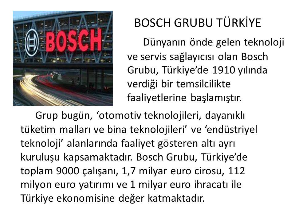 BOSCH GRUBU TÜRKİYE Dünyanın önde gelen teknoloji ve servis sağlayıcısı olan Bosch Grubu, Türkiye'de 1910 yılında verdiği bir temsilcilikte faaliyetlerine başlamıştır.