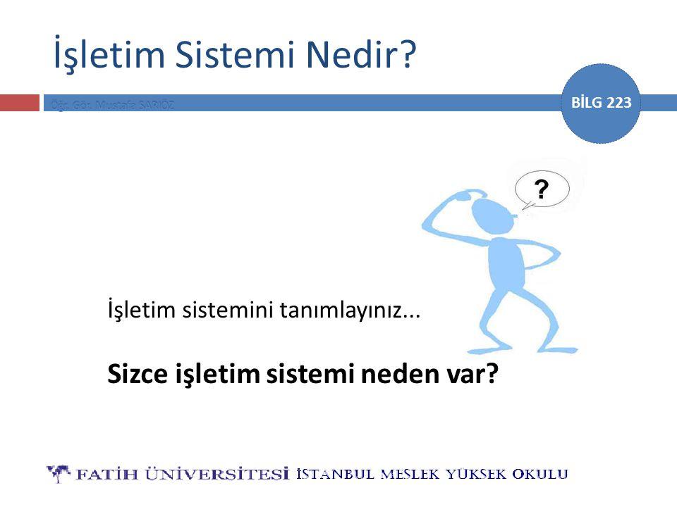 BİLG 223 İşletim Sistemi Nedir? İşletim sistemini tanımlayınız... Sizce işletim sistemi neden var?