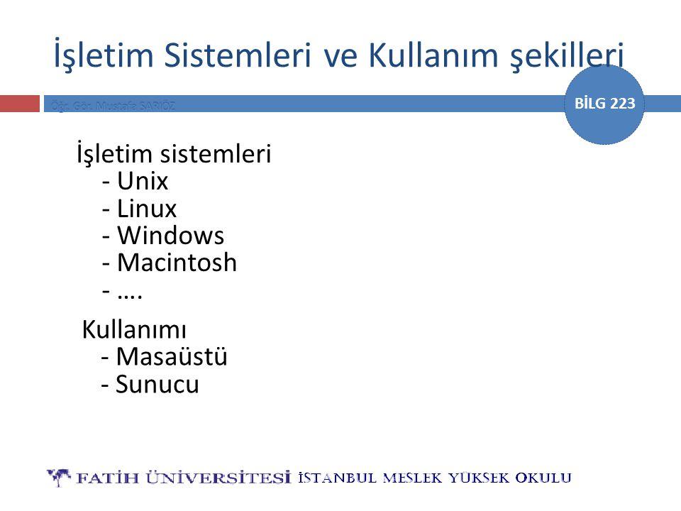 BİLG 223 İşletim Sistemleri ve Kullanım şekilleri İşletim sistemleri - Unix - Linux - Windows - Macintosh - …. Kullanımı - Masaüstü - Sunucu