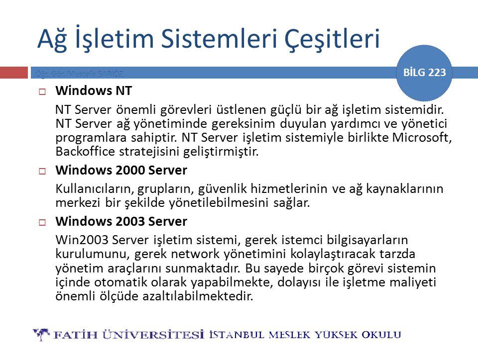 BİLG 223 Ağ İşletim Sistemleri Çeşitleri  Windows NT NT Server önemli görevleri üstlenen güçlü bir ağ işletim sistemidir. NT Server ağ yönetiminde ge